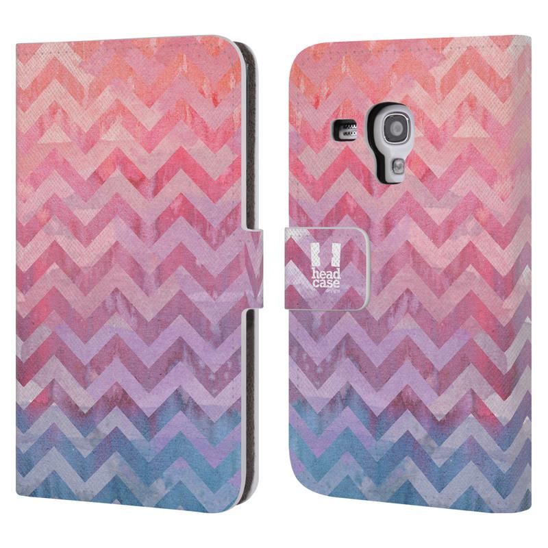Flipové pouzdro na mobil Samsung Galaxy S III Mini HEAD CASE Pink Chevron (Flipový vyklápěcí kryt či obal z umělé kůže na mobilní telefon Samsung Galaxy S III Mini GT-I8190)