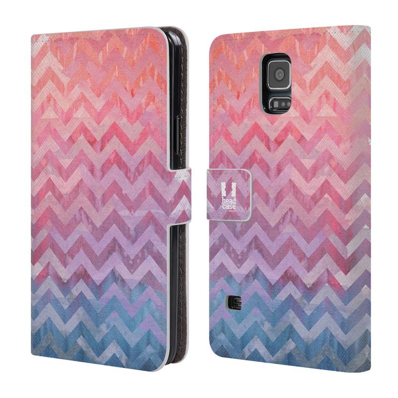 Flipové pouzdro na mobil Samsung Galaxy S5 HEAD CASE Pink Chevron (Flipový vyklápěcí kryt či obal z umělé kůže na mobilní telefon Samsung Galaxy S5 SM-G900)