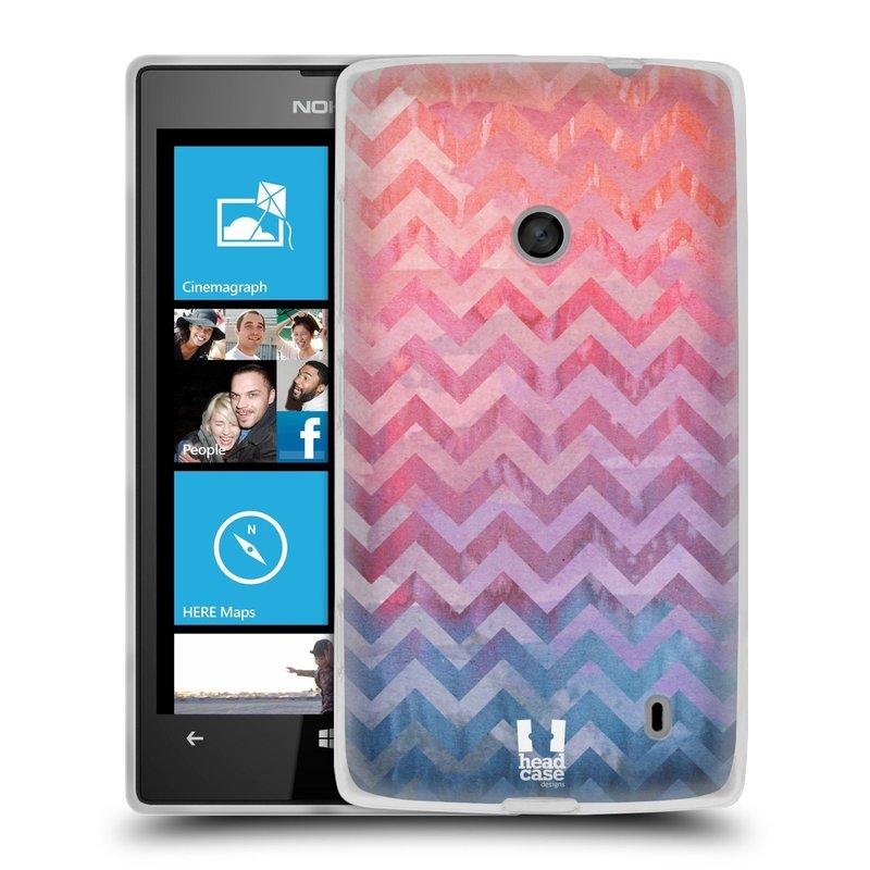 Silikonové pouzdro na mobil Nokia Lumia 520 HEAD CASE Pink Chevron (Silikonový Kryt či obal na mobilní telefon Nokia Lumia 520)