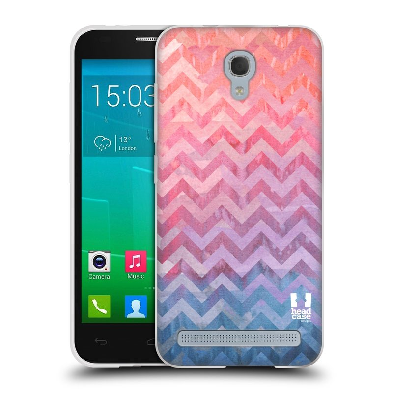 Silikonové pouzdro na mobil Alcatel One Touch Idol 2 Mini S 6036Y HEAD CASE Pink Chevron (Silikonový kryt či obal na mobilní telefon Alcatel Idol 2 Mini S OT-6036Y)