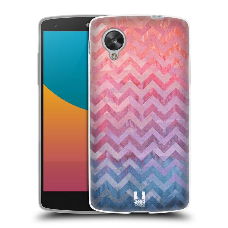 Silikonové pouzdro na mobil LG Nexus 5 HEAD CASE Pink Chevron (Silikonový kryt či obal na mobilní telefon LG Google Nexus 5 D821)
