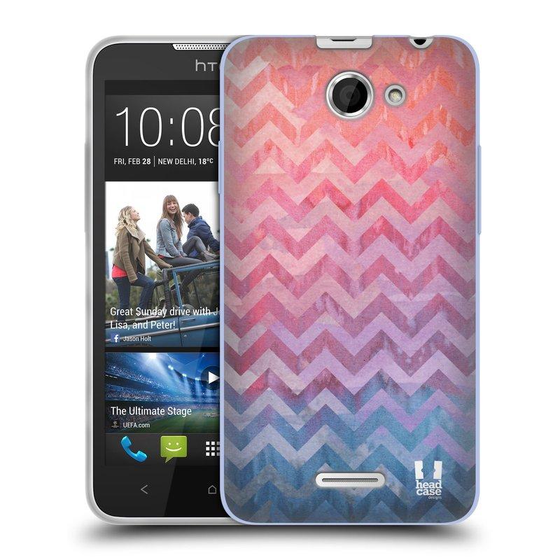 Silikonové pouzdro na mobil HTC Desire 516 HEAD CASE Pink Chevron (Silikonový kryt či obal na mobilní telefon HTC Desire 516 Dual SIM)