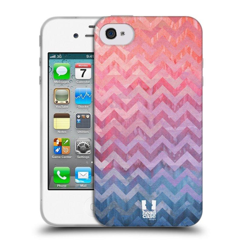 Silikonové pouzdro na mobil Apple iPhone 4 a 4S HEAD CASE Pink Chevron (Silikonový kryt či obal na mobilní telefon Apple iPhone 4 a 4S)