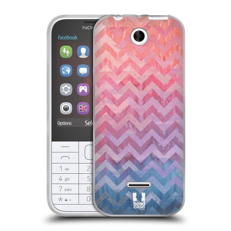 Silikonové pouzdro na mobil Nokia 225 HEAD CASE Pink Chevron (Silikonový kryt či obal na mobilní telefon Nokia 225)