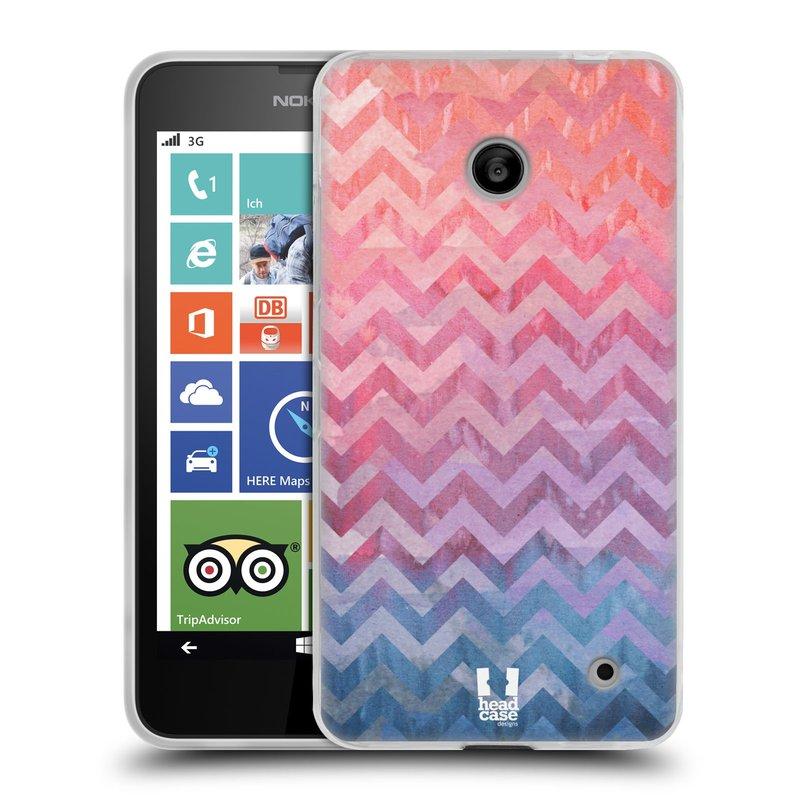 Silikonové pouzdro na mobil Nokia Lumia 630 HEAD CASE Pink Chevron (Silikonový kryt či obal na mobilní telefon Nokia Lumia 630 a Nokia Lumia 630 Dual SIM)