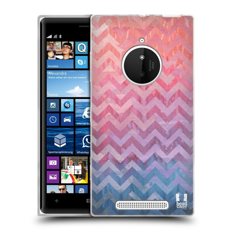 Silikonové pouzdro na mobil Nokia Lumia 830 HEAD CASE Pink Chevron (Silikonový kryt či obal na mobilní telefon Nokia Lumia 830)