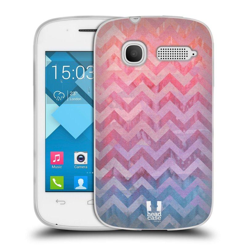 Silikonové pouzdro na mobil Alcatel One Touch Pop C1 HEAD CASE Pink Chevron (Silikonový kryt či obal na mobilní telefon Alcatel OT-4015D POP C1)