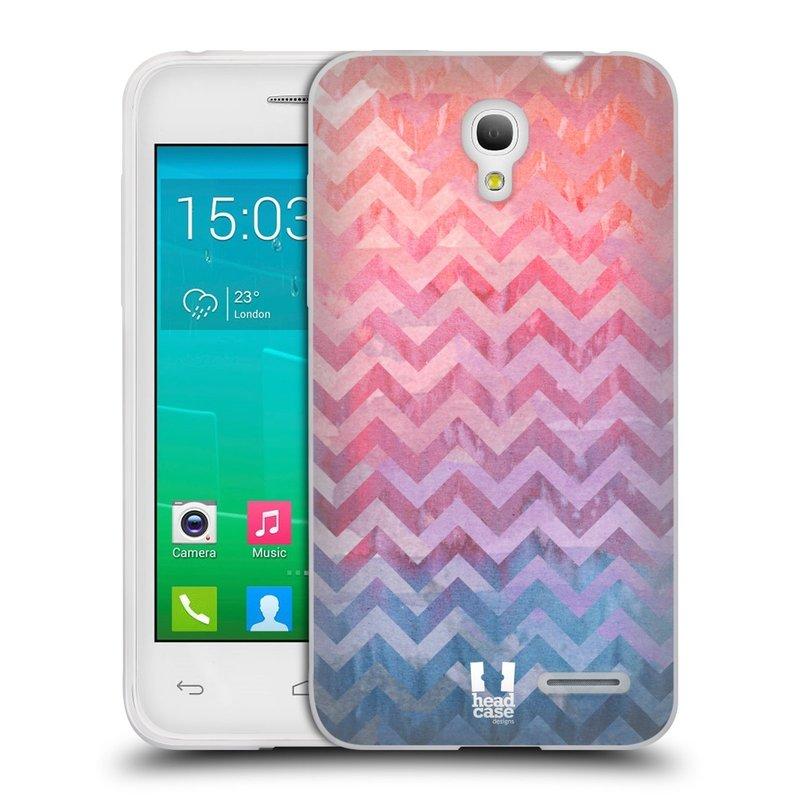 Silikonové pouzdro na mobil Alcatel One Touch Pop S3 HEAD CASE Pink Chevron (Silikonový kryt či obal na mobilní telefon Alcatel OT- 5050Y POP S3)