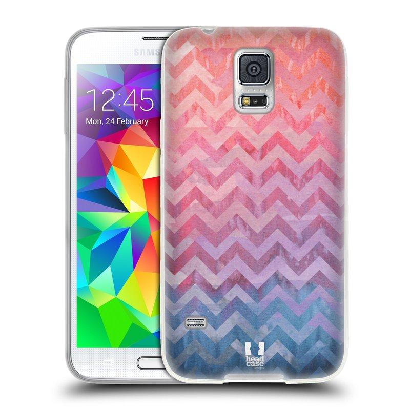 Silikonové pouzdro na mobil Samsung Galaxy S5 HEAD CASE Pink Chevron (Silikonový kryt či obal na mobilní telefon Samsung Galaxy S5 SM-G900F)