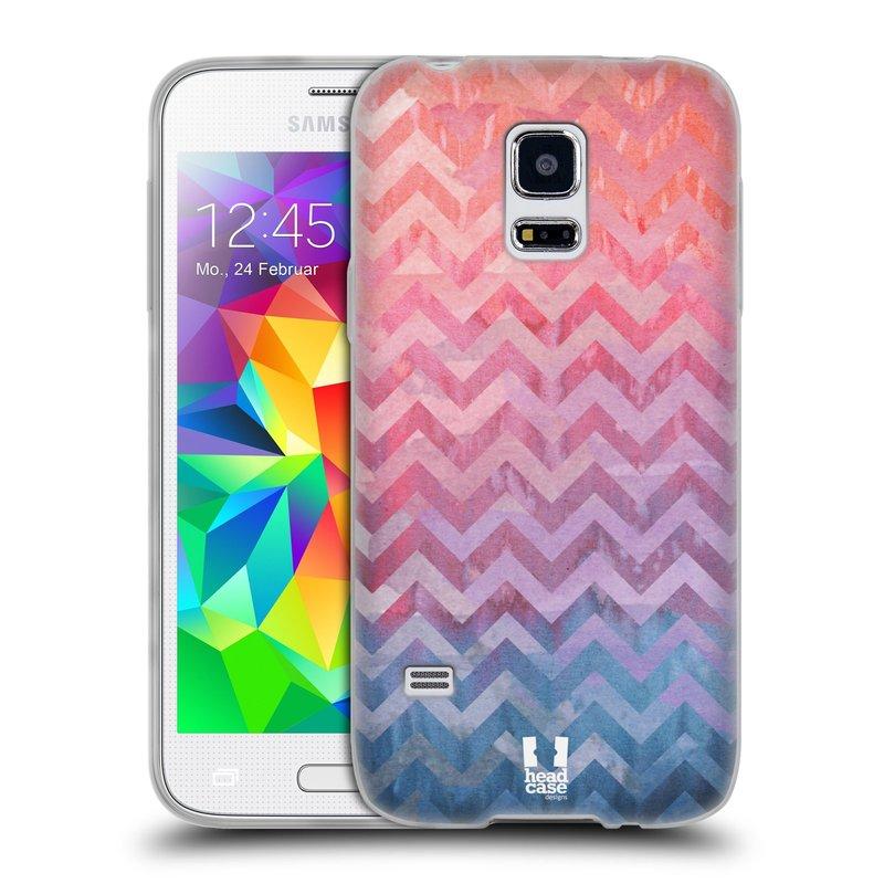 Silikonové pouzdro na mobil Samsung Galaxy S5 Mini HEAD CASE Pink Chevron (Silikonový kryt či obal na mobilní telefon Samsung Galaxy S5 Mini SM-G800F)
