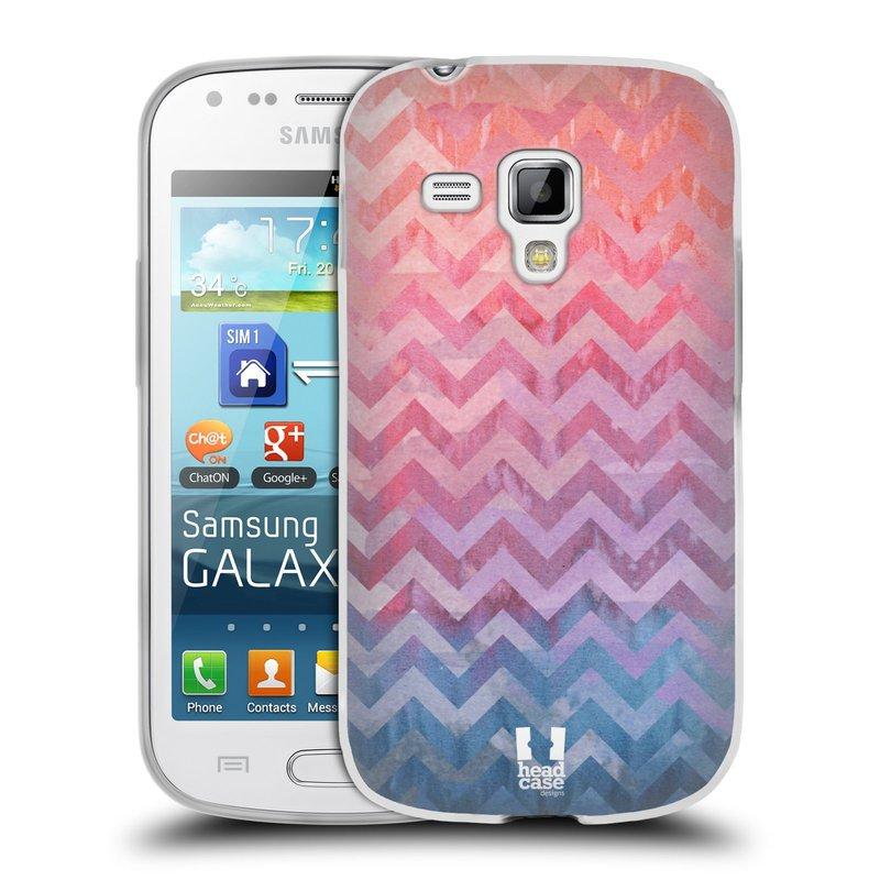 Silikonové pouzdro na mobil Samsung Galaxy S Duos HEAD CASE Pink Chevron (Silikonový kryt či obal na mobilní telefon Samsung Galaxy S Duos GT-S7562)