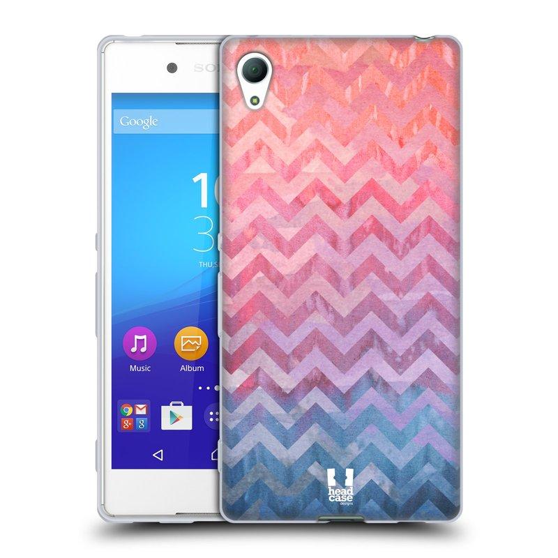 Silikonové pouzdro na mobil Sony Xperia Z3+ (Plus) HEAD CASE Pink Chevron (Silikonový kryt či obal na mobilní telefon Sony Xperia Z3+ / Z4 E6553)