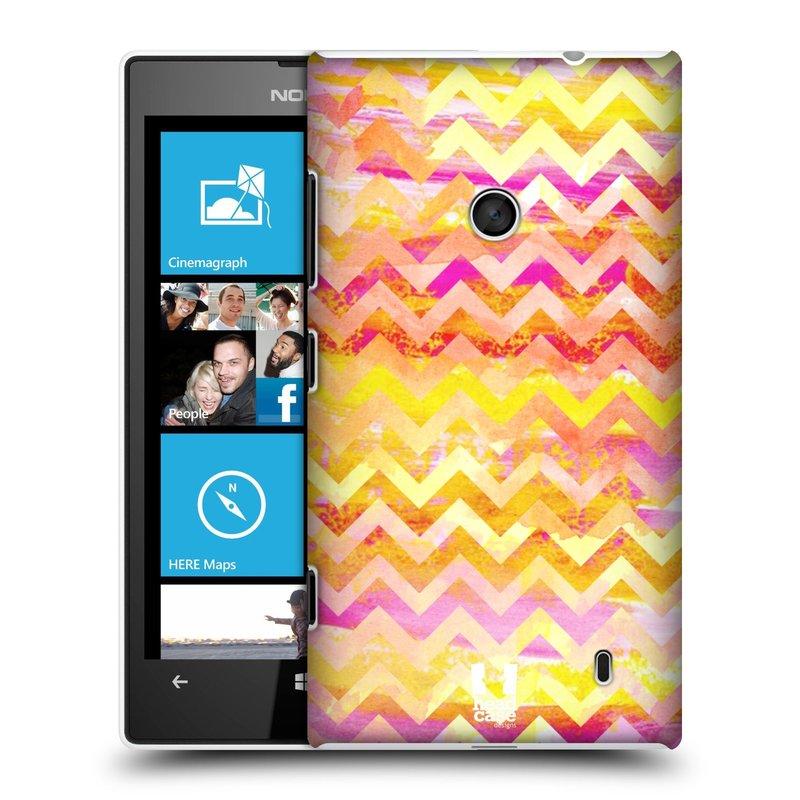 Plastové pouzdro na mobil Nokia Lumia 520 HEAD CASE Yellow Chevron (Kryt či obal na mobilní telefon Nokia Lumia 520 )
