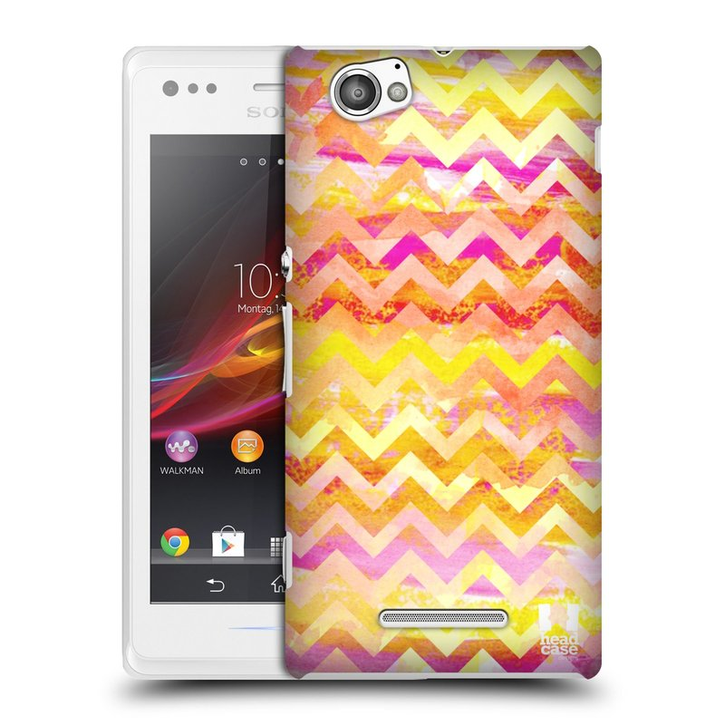 Plastové pouzdro na mobil Sony Xperia M C1905 HEAD CASE Yellow Chevron (Kryt či obal na mobilní telefon Sony Xperia M )