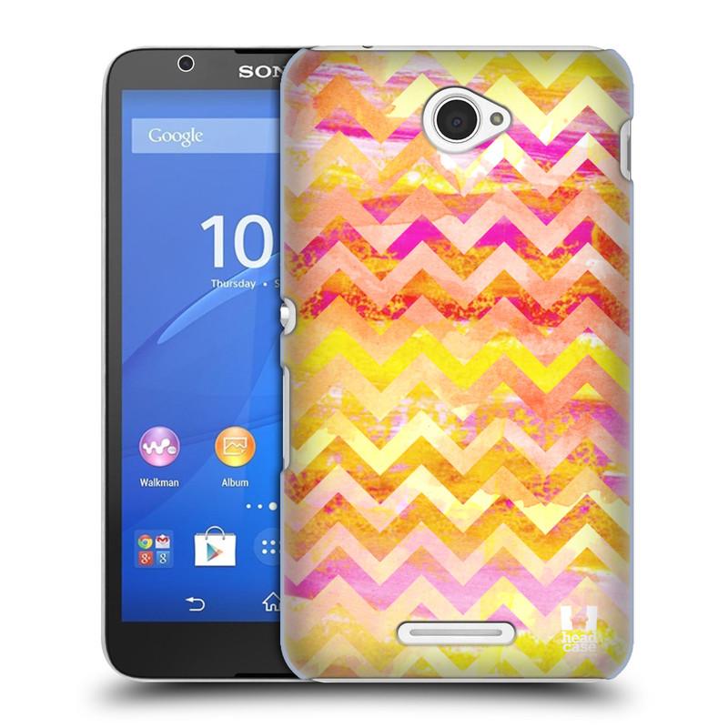 Plastové pouzdro na mobil Sony Xperia E4 E2105 HEAD CASE Yellow Chevron (Kryt či obal na mobilní telefon Sony Xperia E4 a E4 Dual SIM)