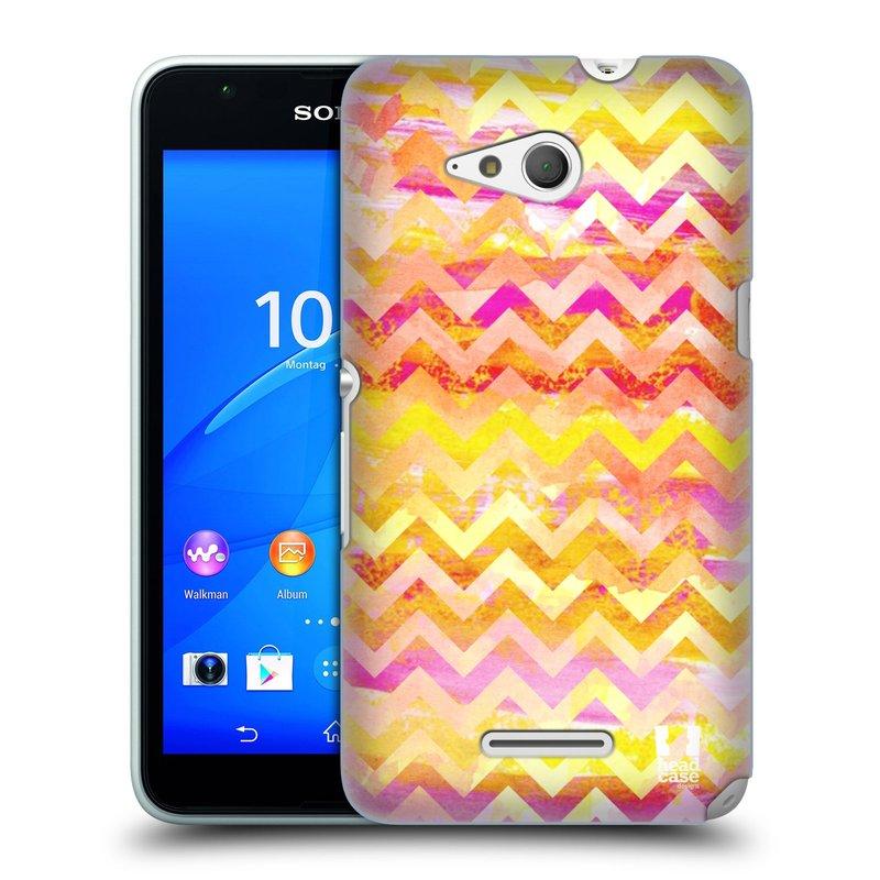 Plastové pouzdro na mobil Sony Xperia E4g E2003 HEAD CASE Yellow Chevron (Kryt či obal na mobilní telefon Sony Xperia E4g a E4g Dual SIM)
