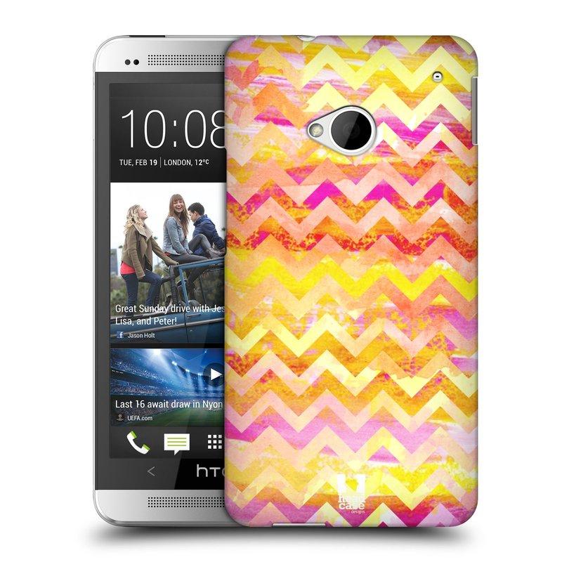 Plastové pouzdro na mobil HTC ONE M7 HEAD CASE Yellow Chevron (Kryt či obal na mobilní telefon HTC ONE M7)