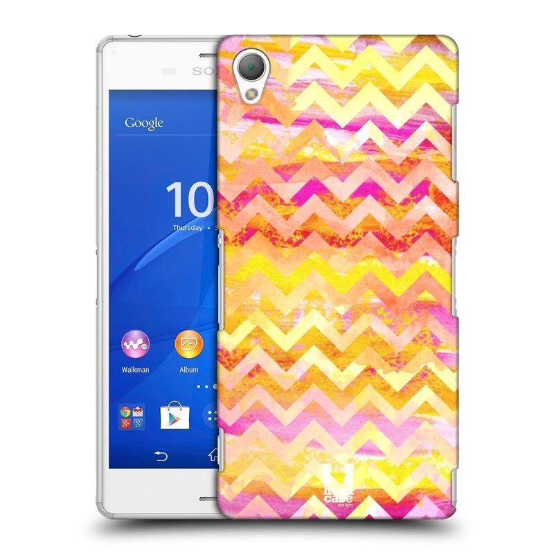 Plastové pouzdro na mobil Sony Xperia Z3 D6603 HEAD CASE Yellow Chevron (Kryt či obal na mobilní telefon Sony Xperia Z3)
