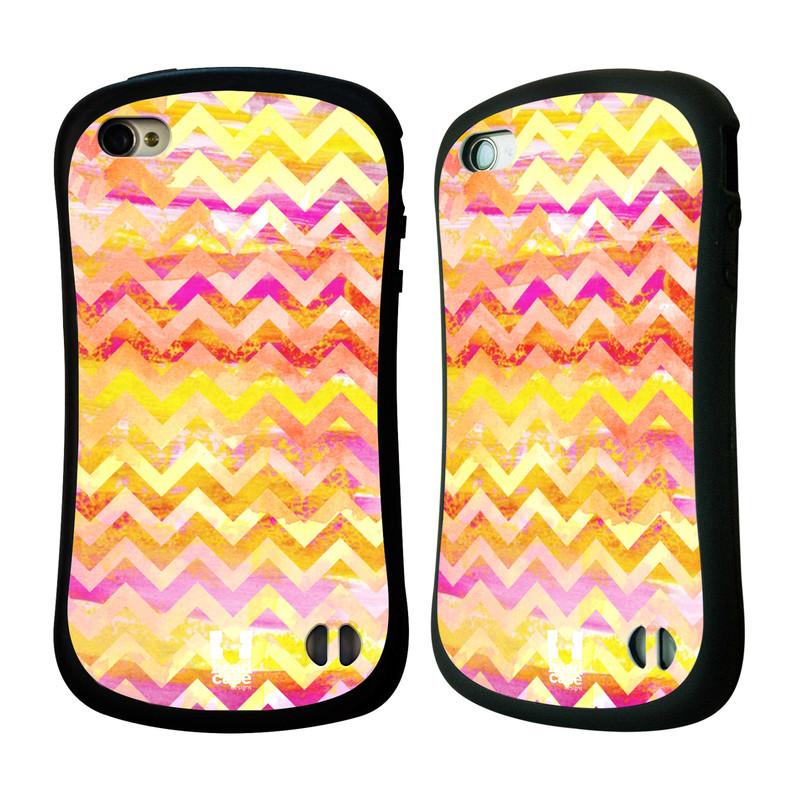 Nárazuvzdorné pouzdro na mobil Apple iPhone 4 a 4S HEAD CASE Yellow Chevron (Odolný nárazuvzdorný silikonový kryt či obal na mobilní telefon Apple iPhone 4 a 4S)