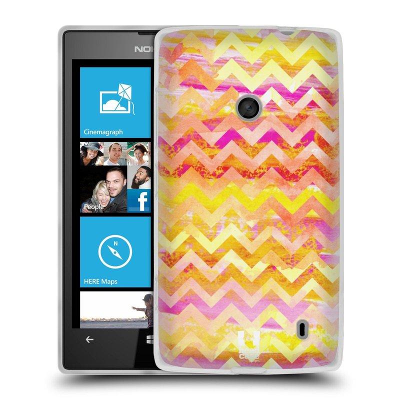 Silikonové pouzdro na mobil Nokia Lumia 520 HEAD CASE Yellow Chevron (Silikonový Kryt či obal na mobilní telefon Nokia Lumia 520)