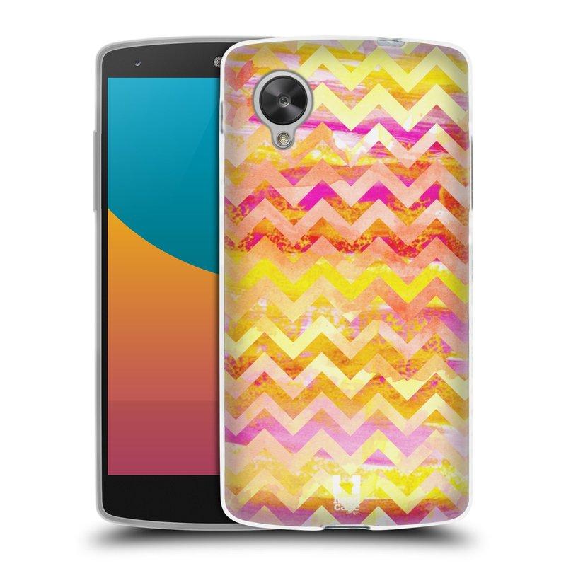 Silikonové pouzdro na mobil LG Nexus 5 HEAD CASE Yellow Chevron (Silikonový kryt či obal na mobilní telefon LG Google Nexus 5 D821)