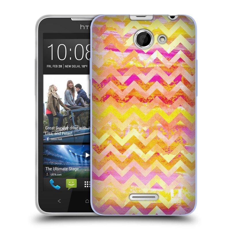 Silikonové pouzdro na mobil HTC Desire 516 HEAD CASE Yellow Chevron (Silikonový kryt či obal na mobilní telefon HTC Desire 516 Dual SIM)