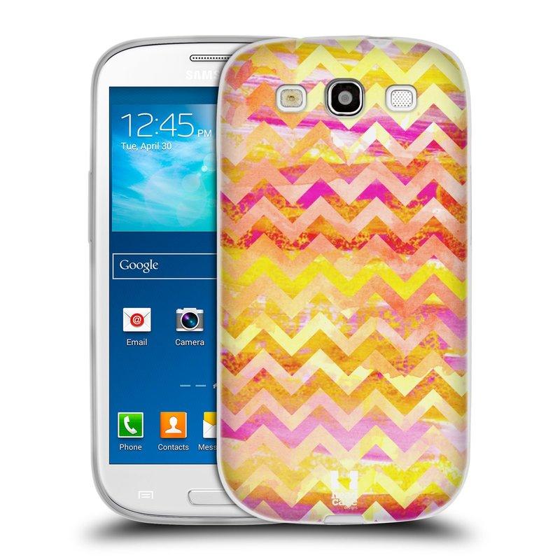 Silikonové pouzdro na mobil Samsung Galaxy S III HEAD CASE Yellow Chevron (Silikonový kryt či obal na mobilní telefon Samsung Galaxy S III GT-i9300)