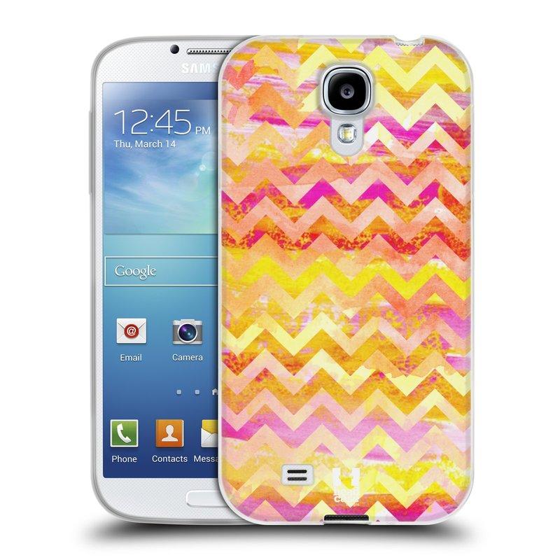 Silikonové pouzdro na mobil Samsung Galaxy S4 HEAD CASE Yellow Chevron (Silikonový kryt či obal na mobilní telefon Samsung Galaxy S4 GT-i9505 / i9500)