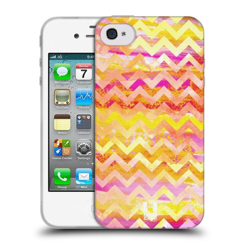 Silikonové pouzdro na mobil Apple iPhone 4 a 4S HEAD CASE Yellow Chevron (Silikonový kryt či obal na mobilní telefon Apple iPhone 4 a 4S)
