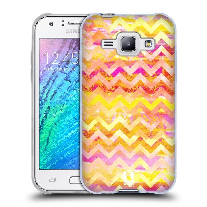 Silikonové pouzdro na mobil Samsung Galaxy J1 HEAD CASE Yellow Chevron (Silikonový kryt či obal na mobilní telefon Samsung Galaxy J1 a J1 Duos)