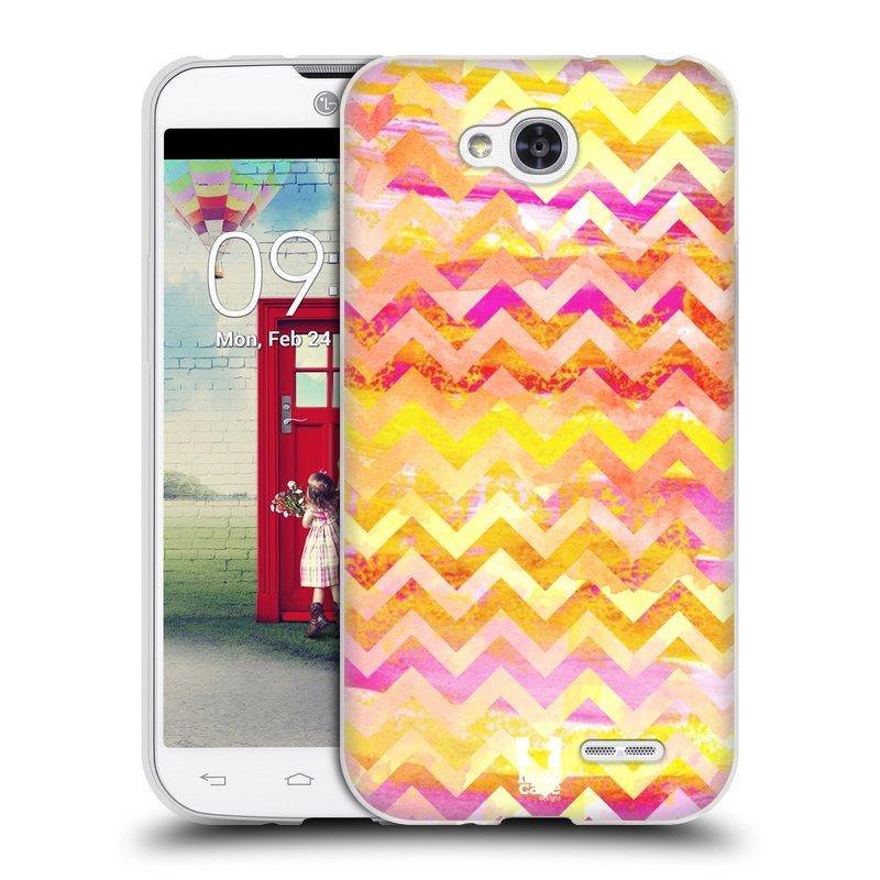 Silikonové pouzdro na mobil LG L90 HEAD CASE Yellow Chevron (Silikonový kryt či obal na mobilní telefon LG L90 D405n)