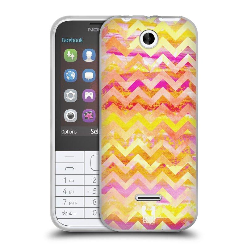Silikonové pouzdro na mobil Nokia 225 HEAD CASE Yellow Chevron (Silikonový kryt či obal na mobilní telefon Nokia 225)