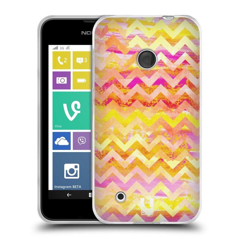 Silikonové pouzdro na mobil Nokia Lumia 530 HEAD CASE Yellow Chevron (Silikonový kryt či obal na mobilní telefon Nokia Lumia 530)
