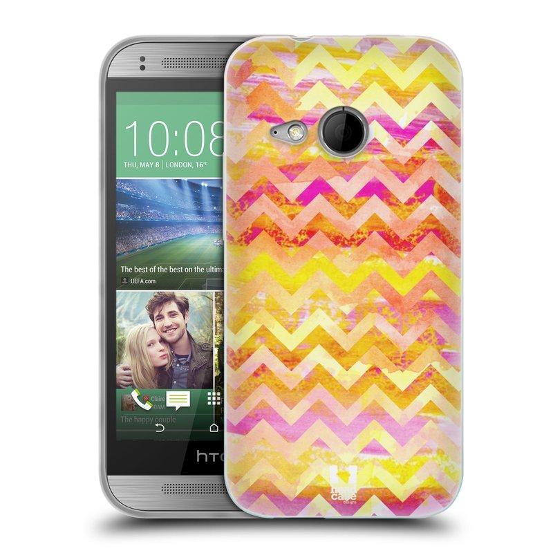 Silikonové pouzdro na mobil HTC ONE Mini 2 HEAD CASE Yellow Chevron (Silikonový kryt či obal na mobilní telefon HTC ONE Mini 2)