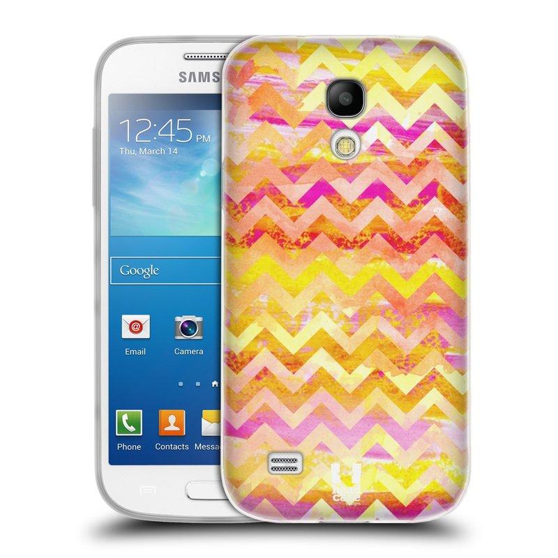 Silikonové pouzdro na mobil Samsung Galaxy S4 Mini HEAD CASE Yellow Chevron (Silikonový kryt či obal na mobilní telefon Samsung Galaxy S4 Mini GT-i9195 / i9190)