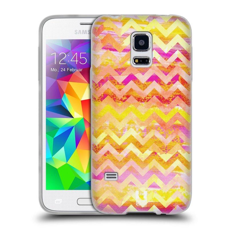 Silikonové pouzdro na mobil Samsung Galaxy S5 Mini HEAD CASE Yellow Chevron (Silikonový kryt či obal na mobilní telefon Samsung Galaxy S5 Mini SM-G800F)