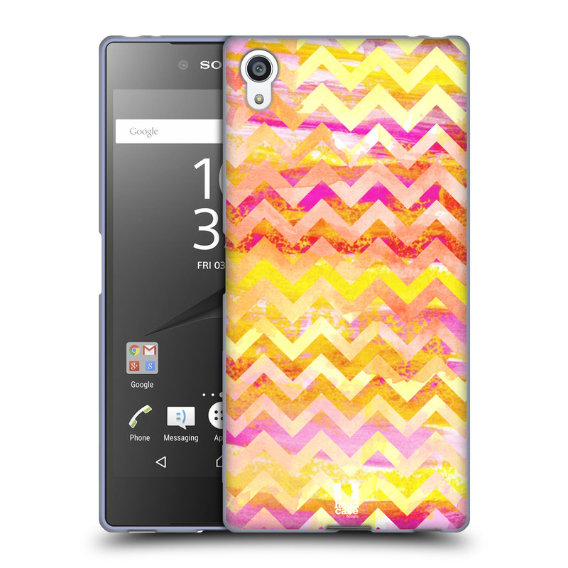Silikonové pouzdro na mobil Sony Xperia Z5 Premium HEAD CASE Yellow Chevron (Silikonový kryt či obal na mobilní telefon Sony Xperia Z5 Premium E6853)