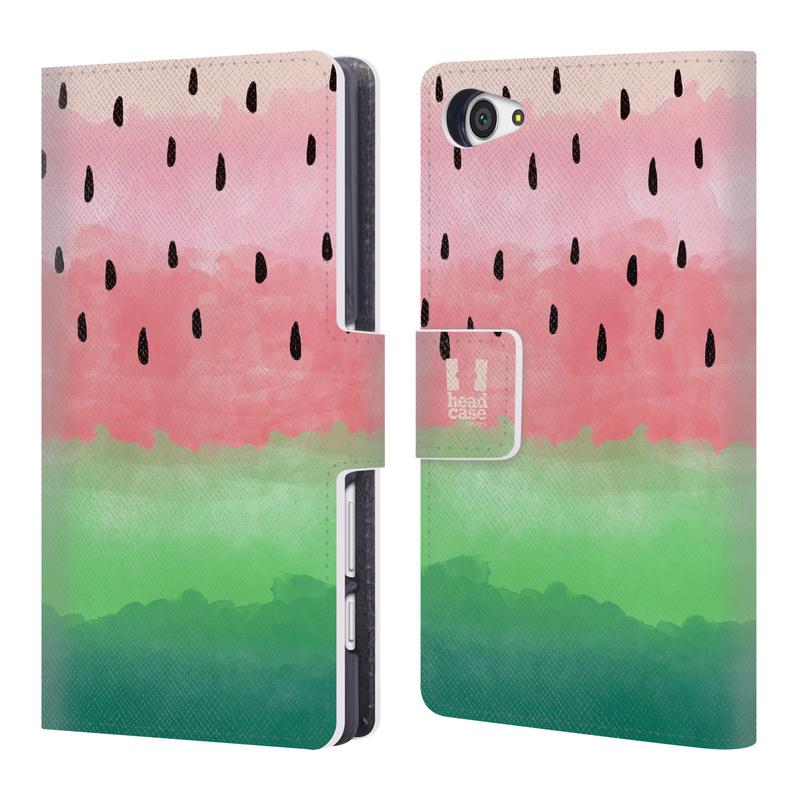 Flipové pouzdro na mobil Sony Xperia Z5 Compact HEAD CASE Meloun Watercolour (Flipový vyklápěcí kryt či obal z umělé kůže na mobilní telefon Sony Xperia Z5 Compact E5823)