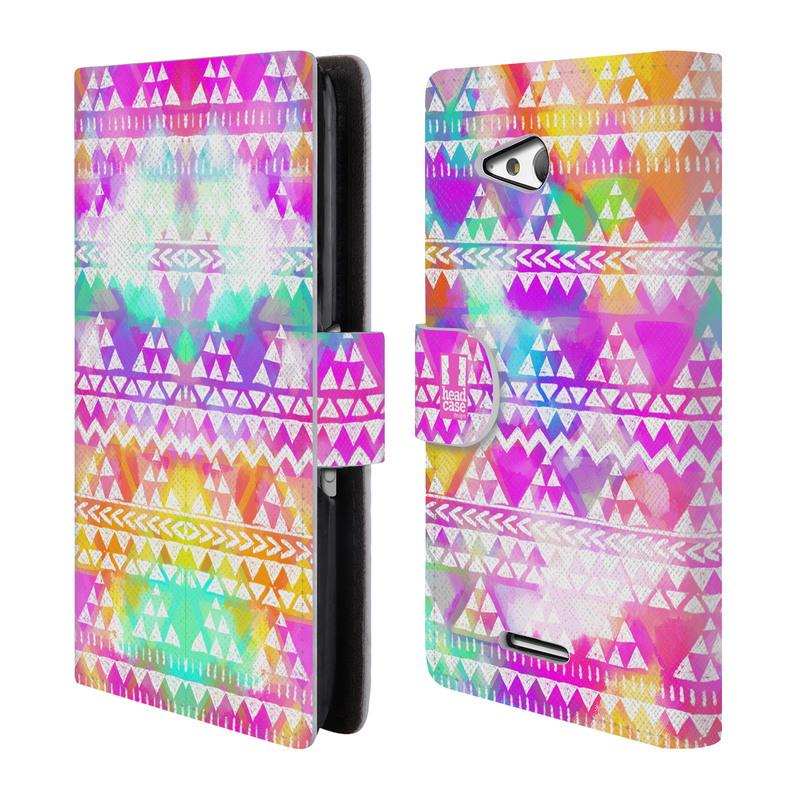 Flipové pouzdro na mobil Sony Xperia E4g HEAD CASE Tribal Colourful Bash (Flipový vyklápěcí kryt či obal z umělé kůže na mobilní telefon Sony Xperia E4G E2003)