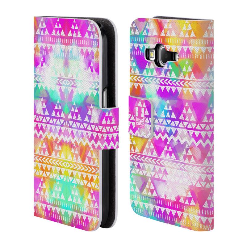 Flipové pouzdro na mobil Samsung Galaxy Core Prime LTE HEAD CASE Tribal Colourful Bash (Flipový vyklápěcí kryt či obal z umělé kůže na mobilní telefon Samsung Galaxy Core Prime LTE SM-G360)