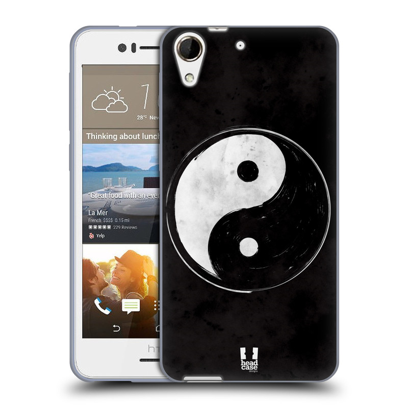 Silikonové pouzdro na mobil HTC Desire 728G Dual SIM HEAD CASE YIn a Yang BW (Silikonový kryt či obal na mobilní telefon HTC Desire 728 G Dual SIM)