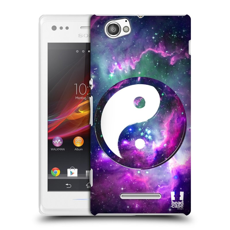Plastové pouzdro na mobil Sony Xperia M C1905 HEAD CASE Yin a Yang PURPLE (Kryt či obal na mobilní telefon Sony Xperia M a M Dual)