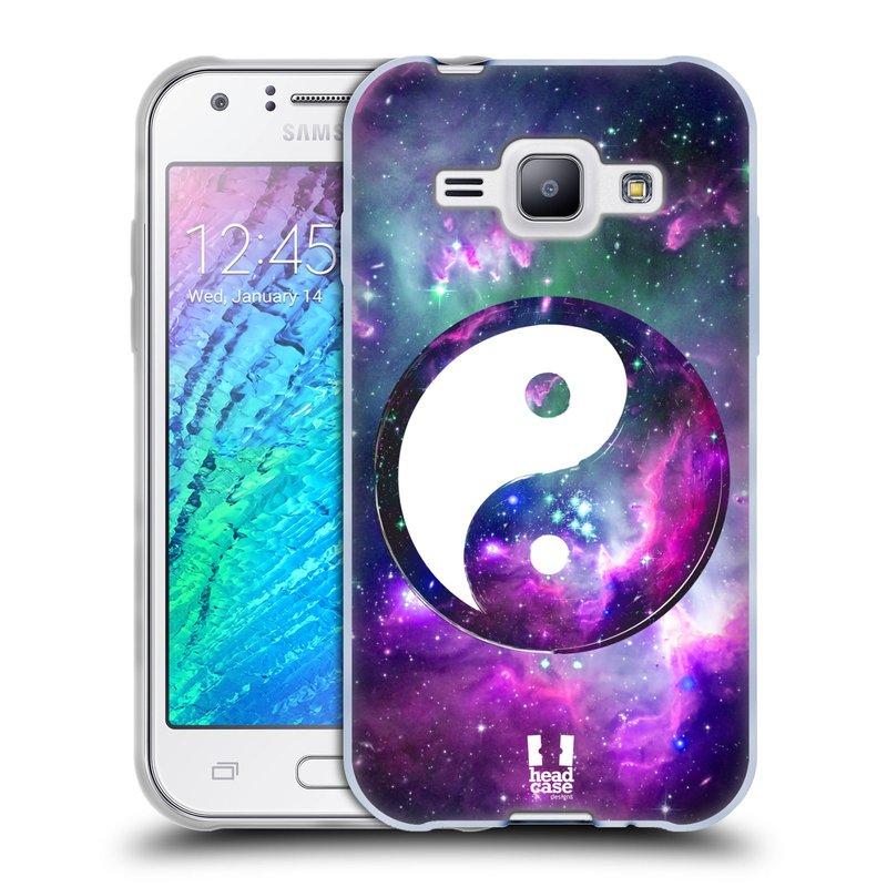 Silikonové pouzdro na mobil Samsung Galaxy J1 HEAD CASE YIn a Yang PURPLE (Silikonový kryt či obal na mobilní telefon Samsung Galaxy J1 a J1 Duos)