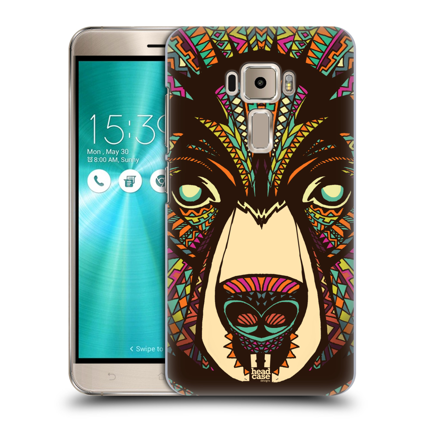 Plastové pouzdro na mobil Asus ZenFone 3 ZE520KL HEAD CASE AZTEC MEDVĚD