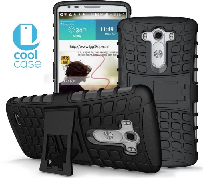 Odolné pouzdro PANZER CASE na mobilní telefon LG G4 Černé (Odolný kryt či obal na mobil LG G4 se stojánkem)