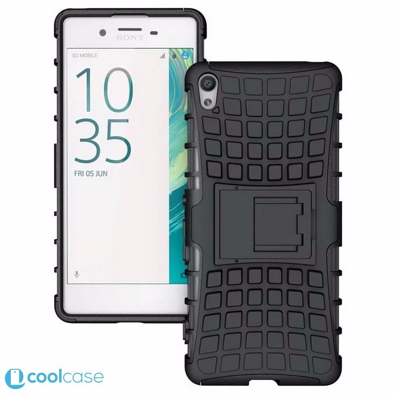 Odolné pouzdro PANZER CASE na mobilní telefon Sony Xperia XA Černé (Odolný kryt či obal na mobil Sony Xperia XA se stojánkem)