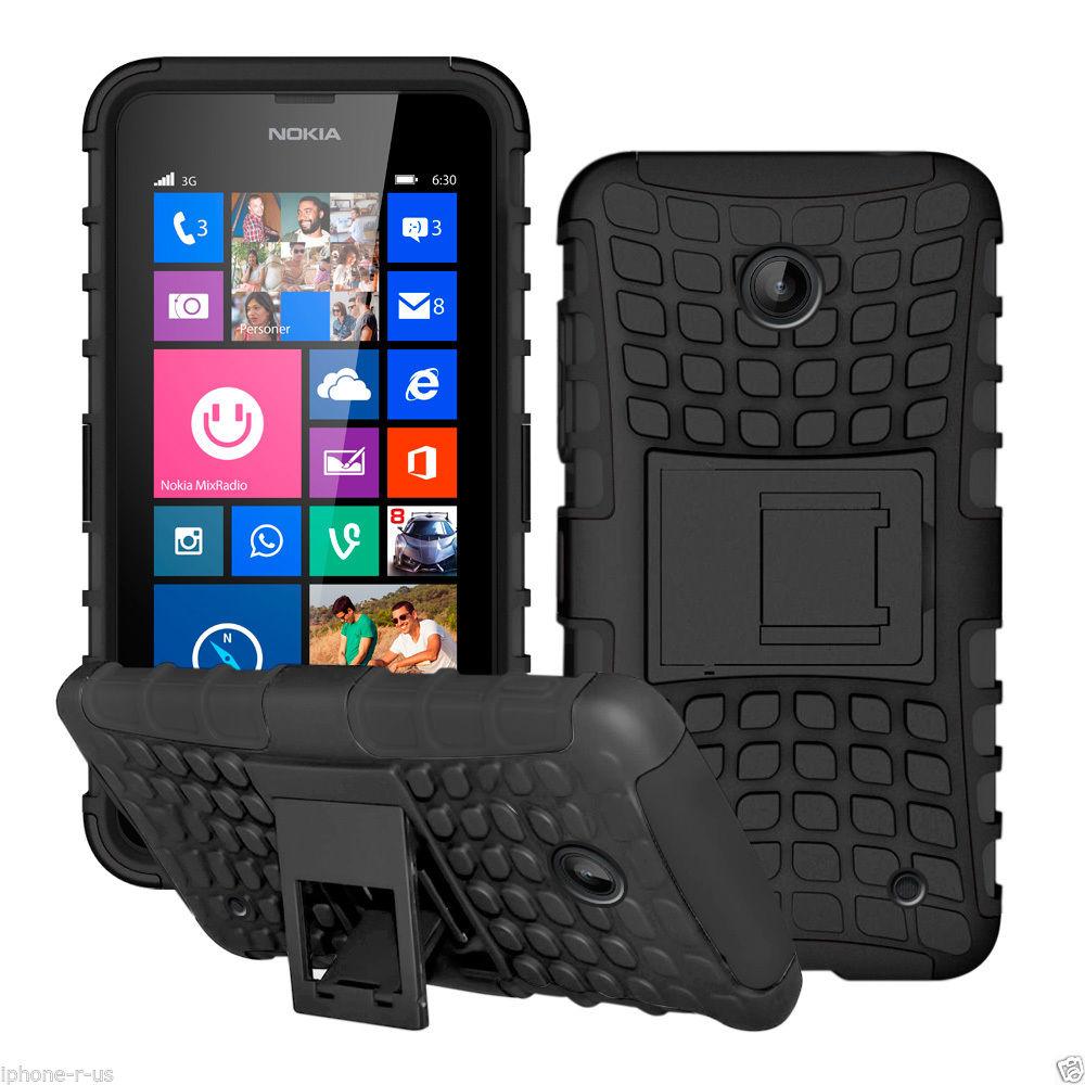 Odolné pouzdro PANZER CASE na mobilní telefon Microsoft Lumia 530 ČERNÉ (Odolný kryt či obal na mobil Nokia Lumia 530 se stojánkem)