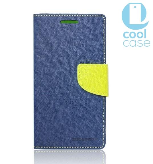 Flipové pouzdro na mobil FANCY BOOK LENOVO Vibe C2 Dual SIM MODRÉ (Flipové knížkové vyklápěcí pouzdro na mobilní telefon Lenovo Vibe C2 Dual SIM)