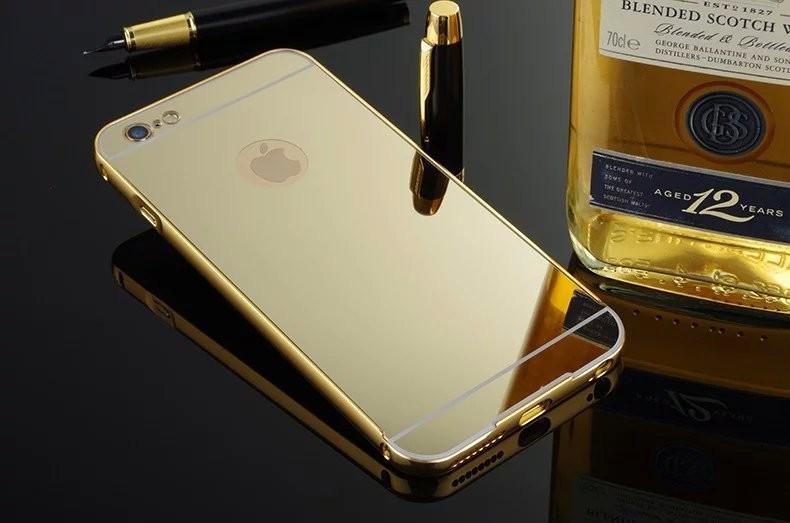 Hliníkový rámeček + zadní plastový kryt na mobil Apple iPhone 5 / 5S GOLD (Bumper + zadní plastový díl na mobilní telefon Apple iPhone 5 / 5S)