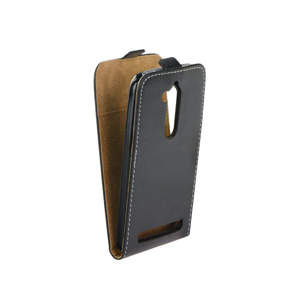 Vertikální flipové pouzdro FORCELL FLEXI pro Asus Zenfone 3 Go ZB500KL Černé (Flipové vertikální vyklápěcí pouzdro na mobilní telefon Asus Zenfone 3 Go ZB500KL)